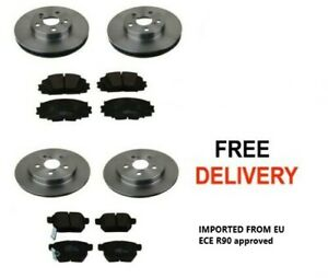 FOR TOYOTA PRIUS 1.8  HYBRID 2009-2016 FRONT AND REAR BRAKE DISCS AND PADS SET