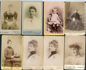 8 CDV'S LEICESTER PHOTOGRAPHERS LEICESTERSHIRE
