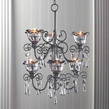 Smoked Glass Tiered Candle Chandelier