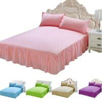 Home Bed Skirt Dust Ruffle Bedspread Stonewashed Washable Bed Sheet Pure Color
