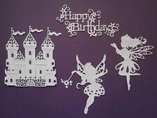 Fairy Castle Fairies 'Happy Birthday' Paper Die Cuts x 2 Sets Girls Scrapbooking