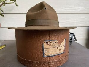 Vintage Antique Rugged Old West Resistol Cowboy Hat 7 1/8 Military Cavalry WWI