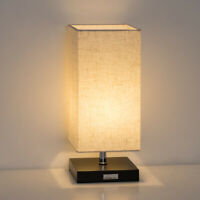 Bedside Lamp Table Desk Lights Square Flaxen Fabric Shade Bedroom Livingroom