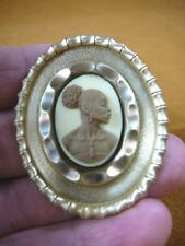 (CA10-20) RARE African American LADY brown + ivory CAMEO Pin Pendant JEWELRY