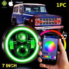 "7"" LED Headlight Bluetooth RGB HALO Light For GMC Pickup Mack Ford Jeep NEW"