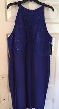 New R&M RICHARDS DRESS 22W Blue Glitter Cocktail Evening Formal Hd Wash SL/L Bra