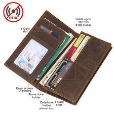 RFID Vintage Cowhide Men's Long Leather Bifold Wallet Slim Credit Card ID Holder