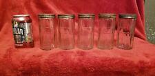 """Vintage Hoosier  Glass Spice Jars W/ Tin Lids Canister Jars Panel for Label 5"""" H"""