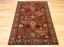 Square Red Biege Tribal Afghan Design Natural 100 Wool Rug 100x100cm 50 off