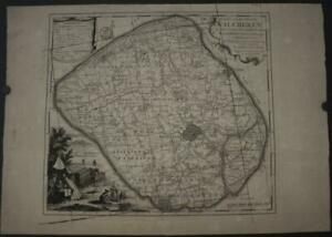 WALCHEREN ZEELAND NETHERLANDS 1753 TIRION UNUSUAL ANTIQUE COPPER ENGRAVED MAP