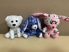 """Build a Bear Mini 4"""" Plush Bunnies And Teddy Polar Bear Lot Of 3 (McDonalds)"""
