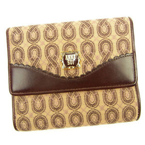 Anna Sui Wallet Purse Folding wallet Red Beige Woman Authentic Used Y5852