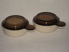 Corning Ware Sandstone Beige Grab it Bowls P-150-B & Pyrex Amber Lids - Set of 2