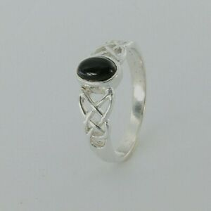Size 7 Natural and Genuine Oval Celtic BLACK ONYX Ring - 925 STERLING SILVER #4