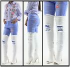 Womens Denim Stiletto Over Knee Boots Shoes Peep Toe Thigh High Ladies Sexy Heel