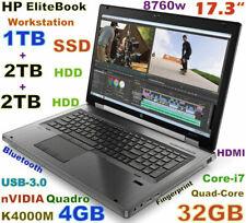 New listing Workstation Hp 8760w i7-Quad (1Tb Ssd + 2Tb + 2Tb) 32Gb 17.3 Fhd K3100M 4Gb