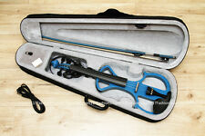 New 4/4 blue Violin-Solidwood Electric Silent Violin +Case Bow FREE C8