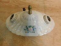 Vintage Porcelier Porcelain Ceramic Ceiling Light 2 Bulb Fixture