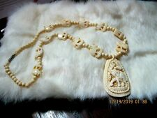 Hand Carved Oriental Off White Necklace w XL Elephant Pendant & Elephant Beads