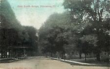 Princeton Illinois~East South Street~Homes in Trees~3 Men on Sidewalk~1912 PC