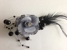 Wedding Party Feather Brooch Hair Clip 1.2x1.5 inch