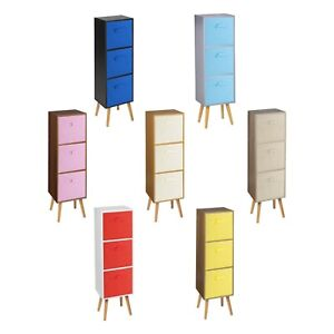 Wooden 3 Tier Storage Bookcase Scandinavian Style Legs Bedroom Colourful Inserts