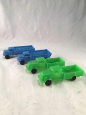 Lot of 4 Marx Plastic Pick Up Trucks Blue & Green Service Station Toy Set 1960s
