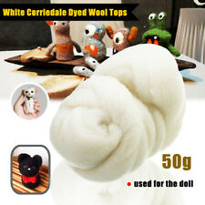 50g White Wool Corriedale Needlefelting Top Roving Dyed Spinning Felting Fiber
