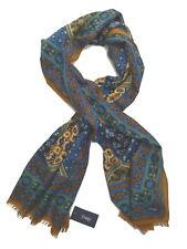 Drake's Scarf Blue antique kaleidoscope print Wool/silk