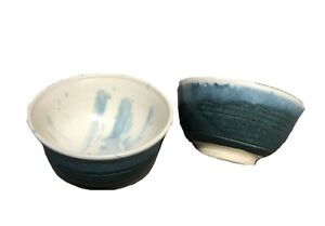 Set of 2 Studio Art Pottery Teal Bowls Signed by Artist