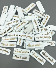 50pcs white Wooden sewing Lettering 'Hand made' Scrapbooking Crafts 30mm