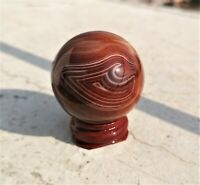 Natural Madagascar Polished Silk Banded Lace Agate Palm Stone Sphere Ball Stand