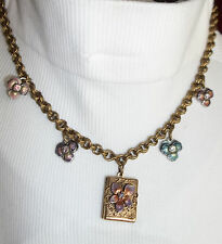 SWEET ROMANCE Necklace PANSY LOCKET Charm Enamel Shelley Cooper SWAROVSKI NEW