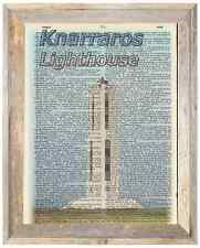 Knarraros Lighthouse Iceland Altered Art Print Upcycled Vintage Dictionary Page