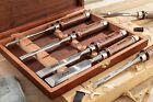 EZARC Carpenter Tool Flea Chisel Set of 6 Black Walnut Handle in Wooden Case