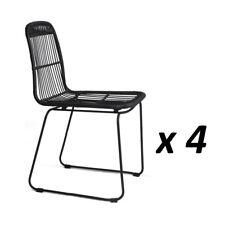 4x Outdoor Dining Chair Rattan PE Wicker For Garden Patio Café In Black 3928