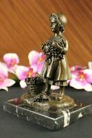 Art Deco Hot Cast Detailed Children Child Lady Bronze Sculpture Statue Figurine
