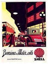 AUTOMOBILE ITALIAN MAG AD 1932 SHELL OIL SIGNED BASSI ART DECO