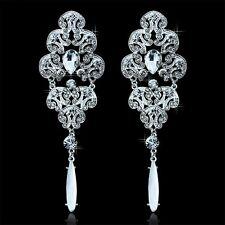 Long Drop Earrings Silver Rhinestone Crystal Bridal For Women Fashion Jewelry