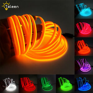 EL Wire Neon Light Strip 2m/5m With Power Driver For Car Interior Decor Tape