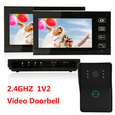 "2.4GHz 7"" LCD Wireless Video Door Phone Doorbell IR 1-Camera 2-Monitor System US"
