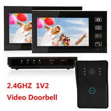 "2.4GHz 7"" LCD Wireless Video Door Phone Doorbell IR 1-Camera 2-Monitor System US"