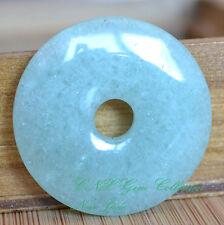 Natural Crystal Gemstone Green New Jade Flat Round Donut Pendant