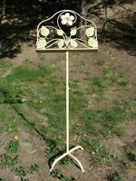 VTG Toleware Tole Painted Music Notes Menu Art Bible Wrought Metal Stand Display
