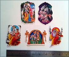 "Lord Krishna with Radha ~ 5 Sticker Stickers (Front & Back Same Print) 2""x3"""