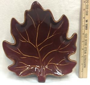 Maple Leaf Dish Ruffhewn & Candle Holder Clear Glass Wired Amber Beads Lot of 2