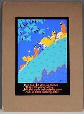 ORIGINAL VINTAGE JACK PERKINS CHILDREN BOOK SILKSCREEN JACK & JILL ART ON BOARD