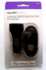 ALLIED Dual Port USB Car Charger with Lighting cable for iPhone iPad iPod