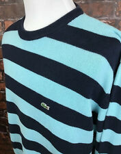 Lacoste Men's Blue Striped Crew Neck Long Sleeve Cotton Sweater Size 7 (XL)