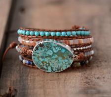 Ocean Jasper Gilded Silver Turquoise Druzy Geode Beaded Wrap Bracelet | Cuff